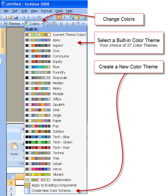 Built-in Color Themes in Xcelsius