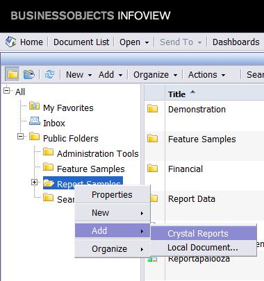 Adding an SAP Crystal Report While Right-Clicking